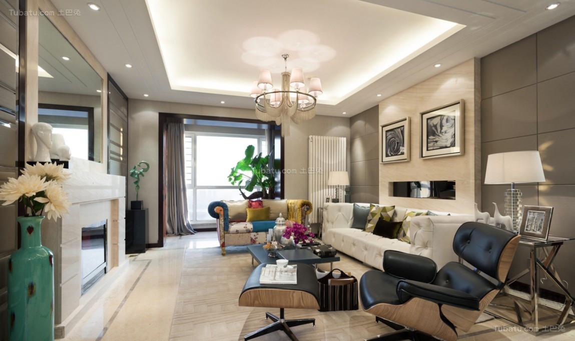 现代俏皮风格三居室装修效果图