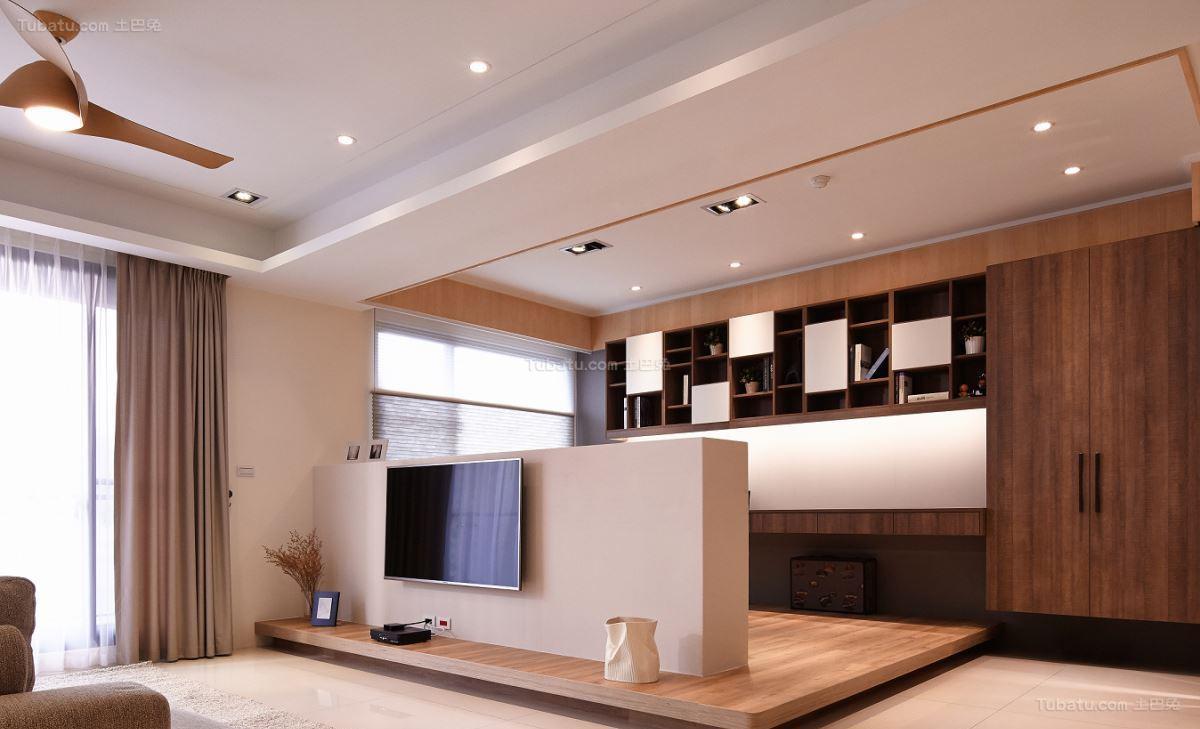 木质原色北欧电视背景墙装修效果图
