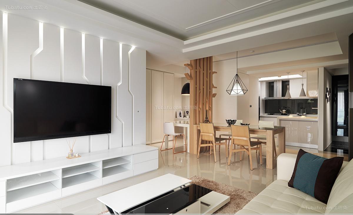 木质品位现代风电视背景墙装修效果图