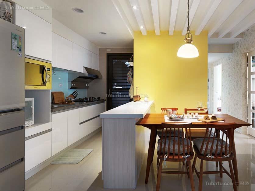 简约风精巧开放式厨房效果图