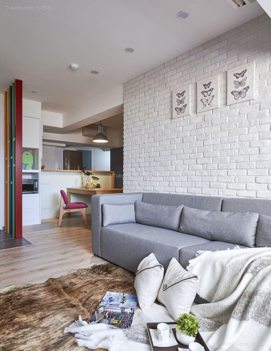 温馨简洁北欧风格二居室装修效果图