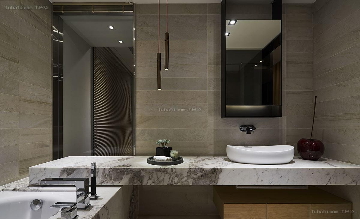 现代风豪华质感卫生间洗手台装修效果图
