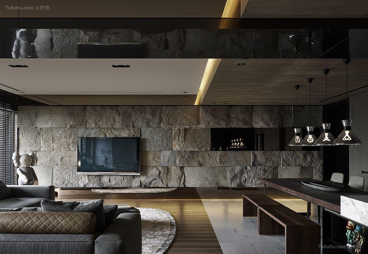 现代风豪华质感电视背景墙装修效果图