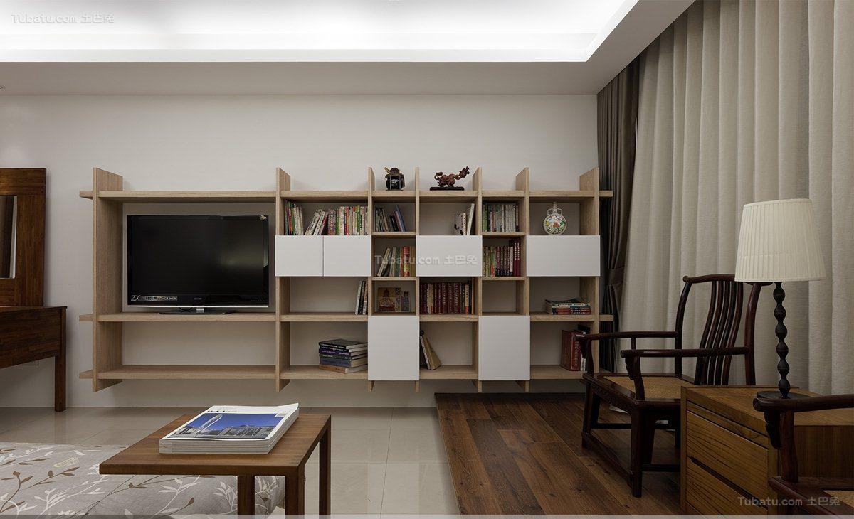 温馨休闲风日式客厅书架装修效果图
