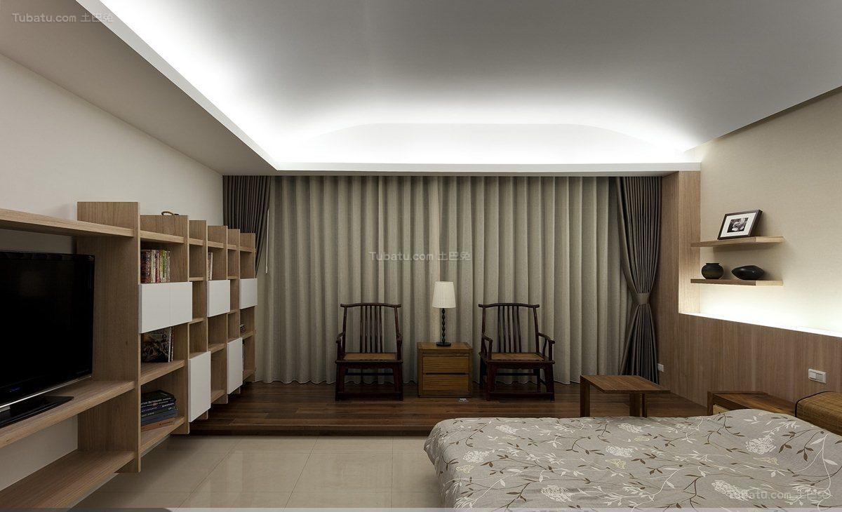 温馨休闲风日式卧室窗帘装修效果图
