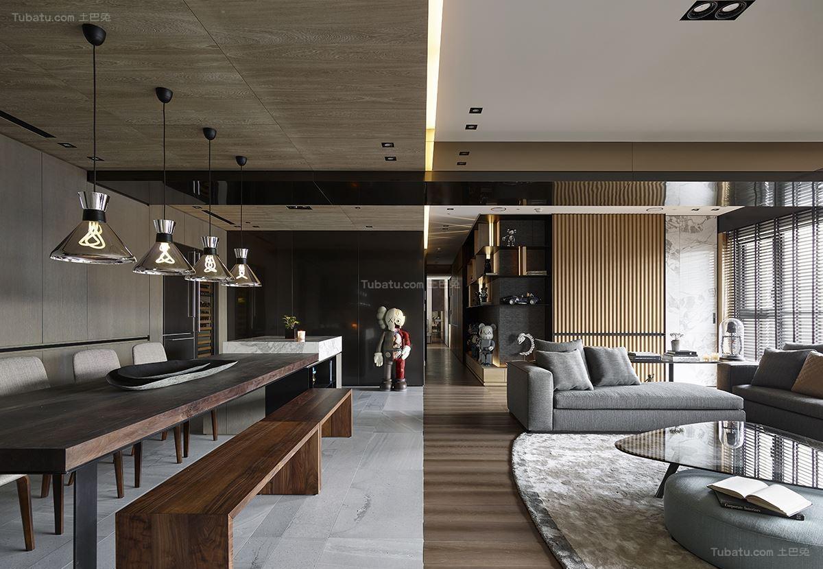 现代风豪华质感大三居装修效果图