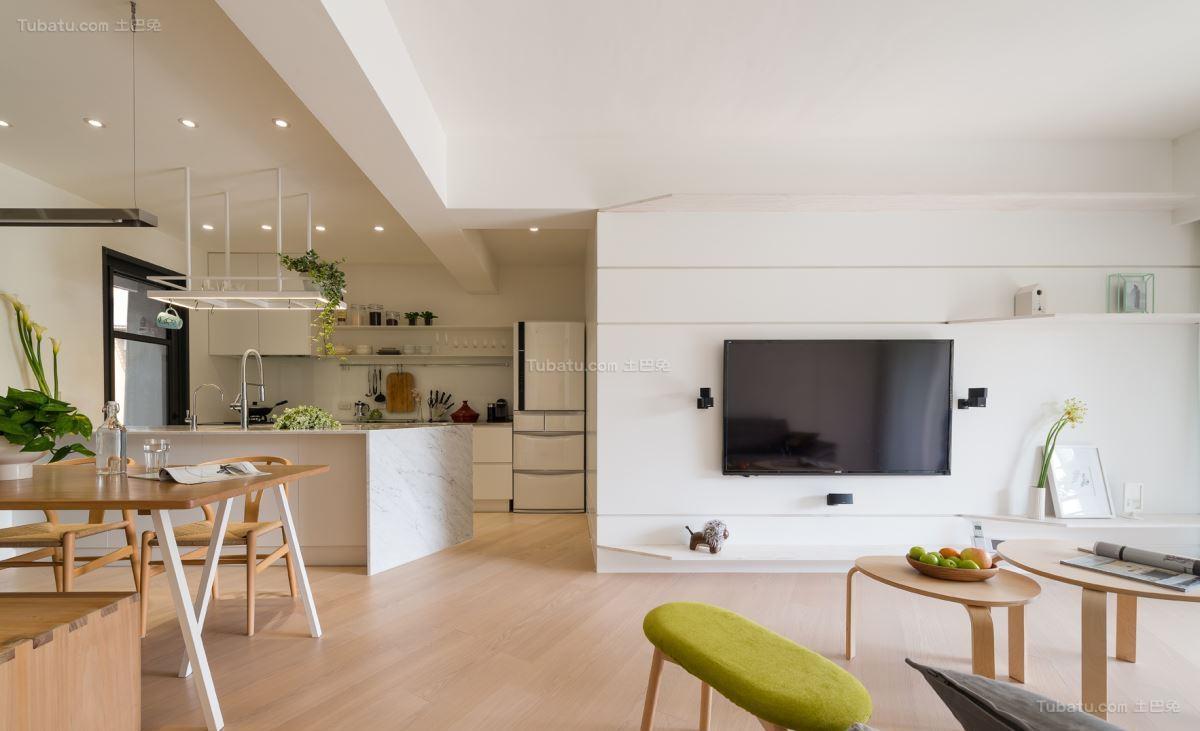 清新时尚的北欧风格二居室装修效果图