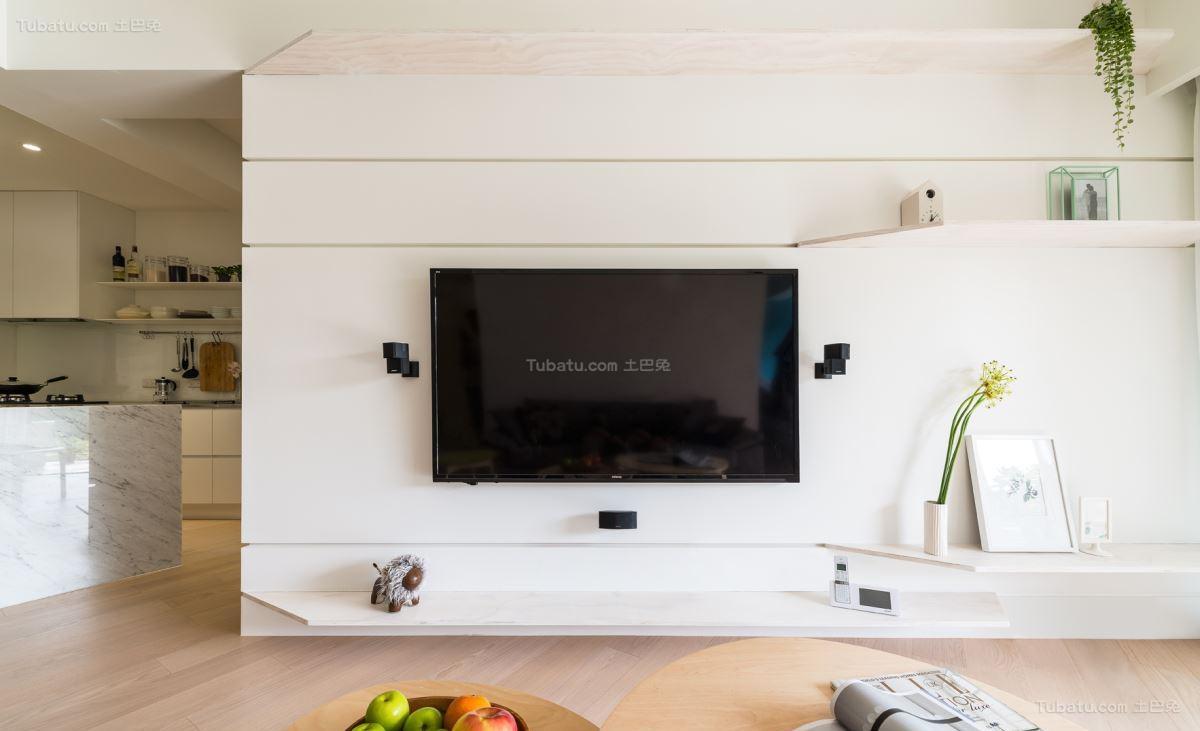 清新时尚的北欧风格电视背景墙装修效果图