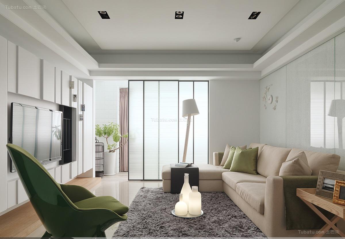 清爽舒适现代风格客厅装修效果图