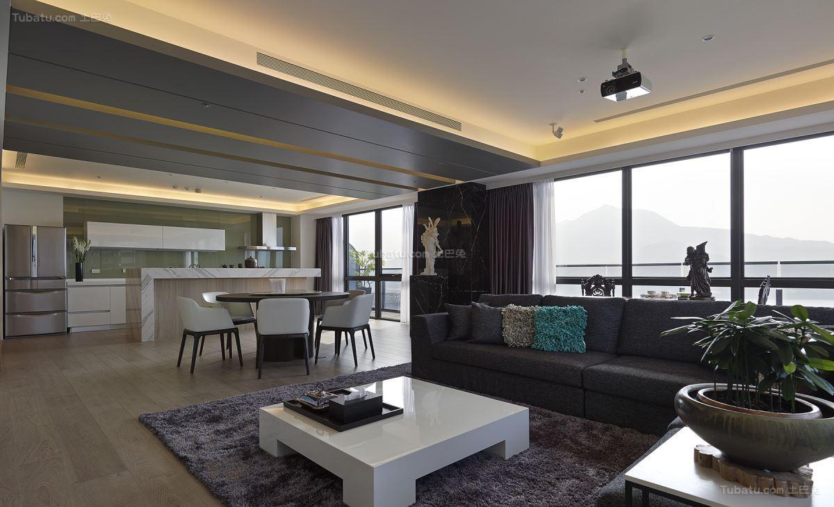 现代低调奢华大三居装修效果图