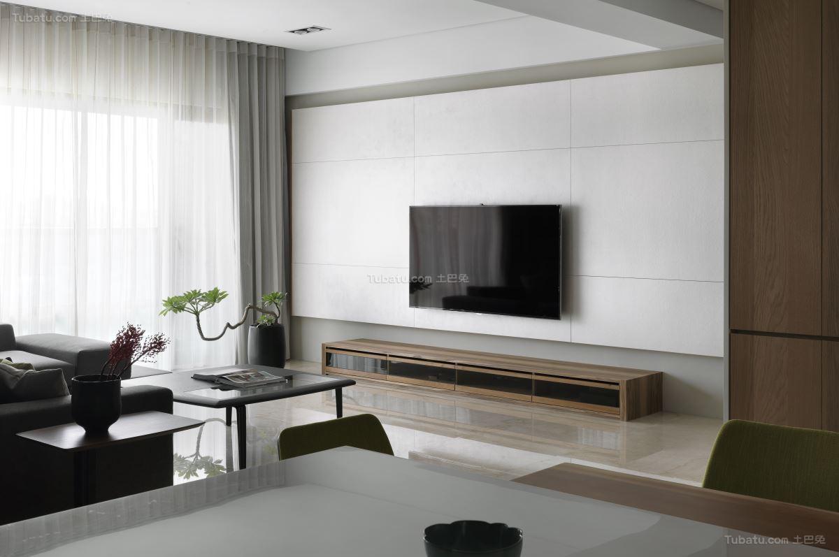 素雅精致现代风格电视背景墙装修效果图