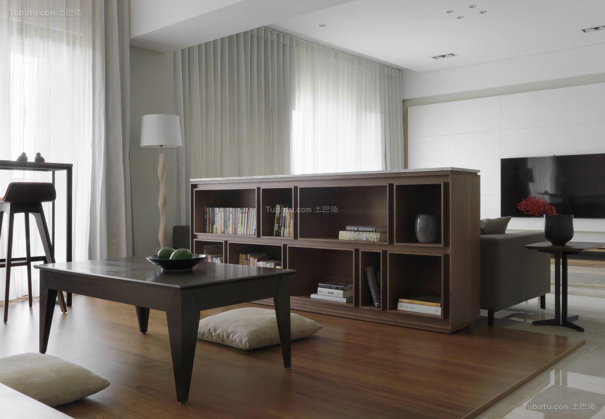 素雅精致现代风格书房客厅隔断装修效果图