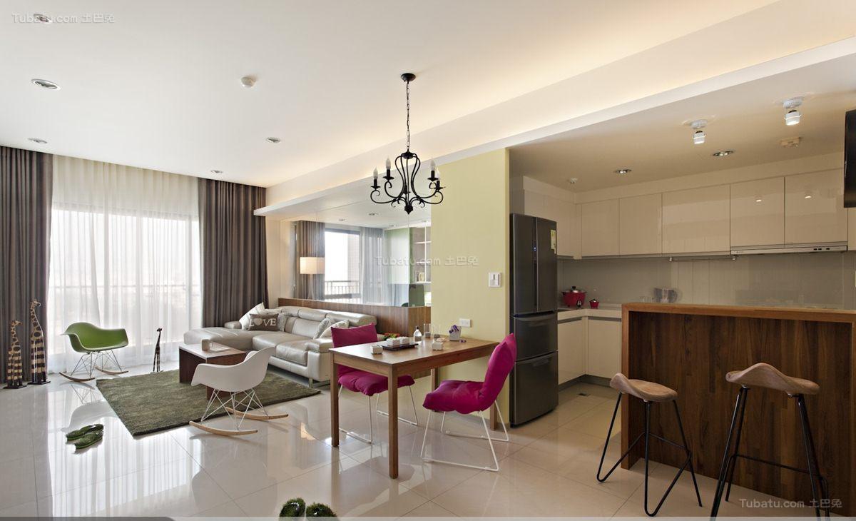 休闲清新现代时尚二居室装修效果图