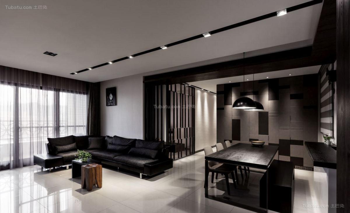 暗黑色系超酷现代风三居室装修效果图
