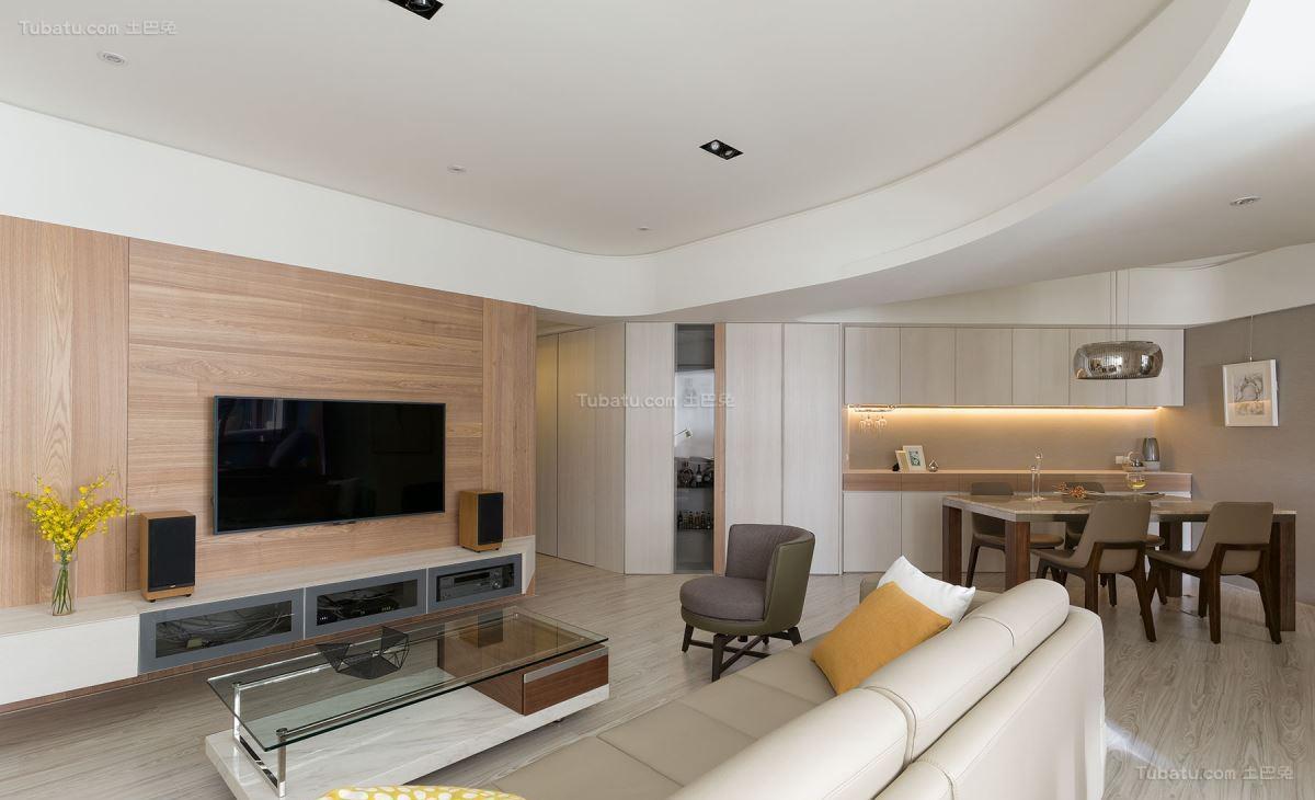 超舒适清新北欧风电视背景墙装修效果图