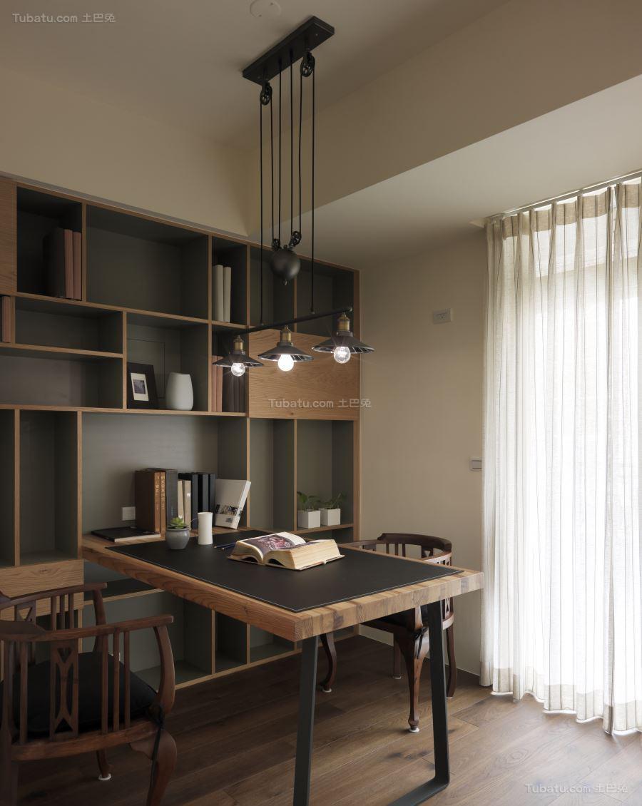轻松休闲的中式书房装修效果图
