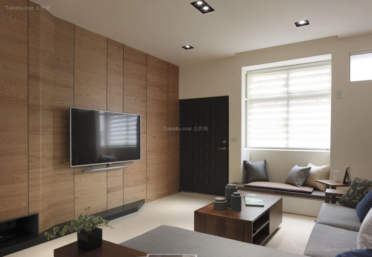 轻松休闲的中式电视背景墙装修效果图