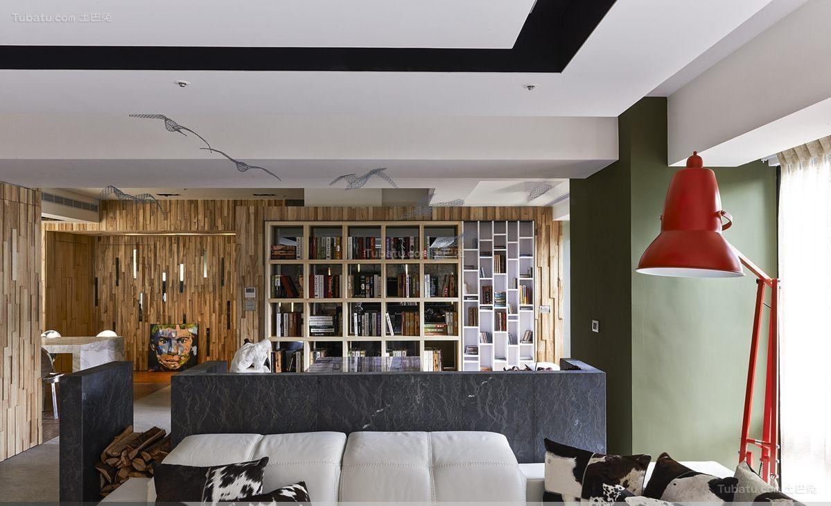 个性别致豪华现代风格书房客厅隔断装修效果图