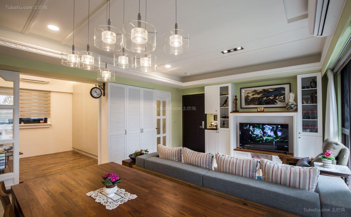 清新精致的田园风格客厅装修效果图