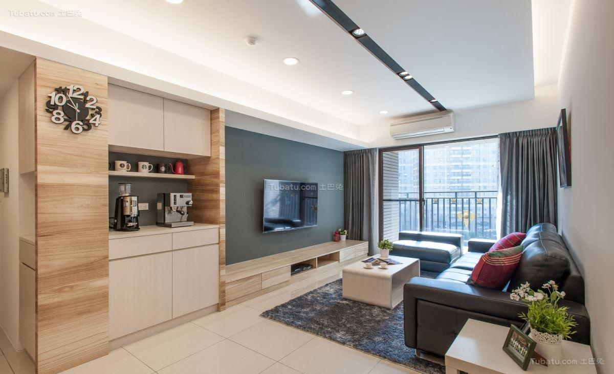 舒适清新休闲现代风格二居室装修效果图