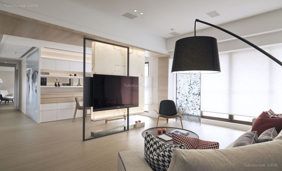 创意时尚北欧风格电视背景墙装修效果图