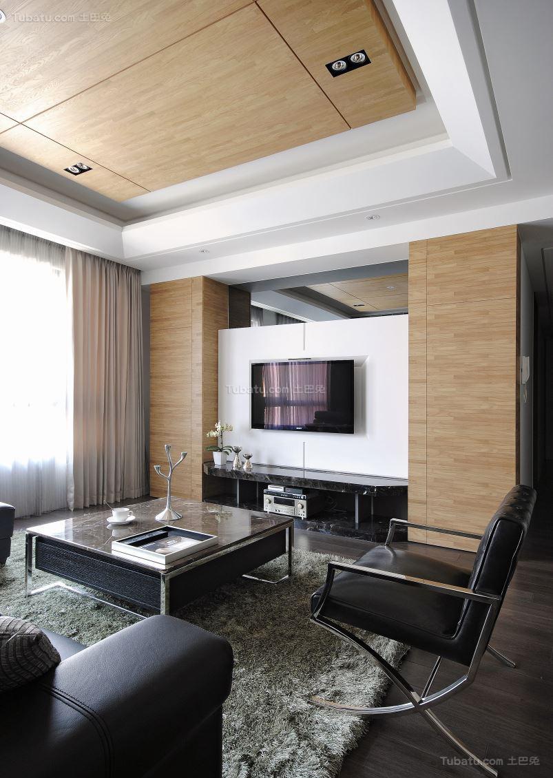 现代气质华美电视背景墙装修效果图