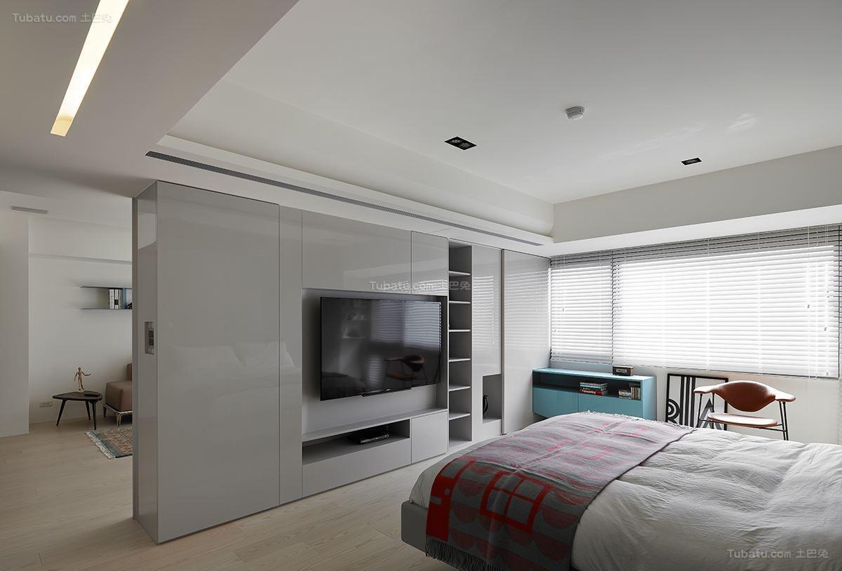 现代大方时尚工业风卧室电视背景墙装修效果图