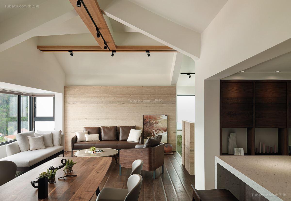 现代气质休闲风客厅吊顶装修效果图