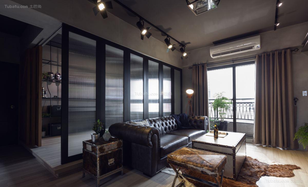 酷酷的美式工业风二居室装修效果图