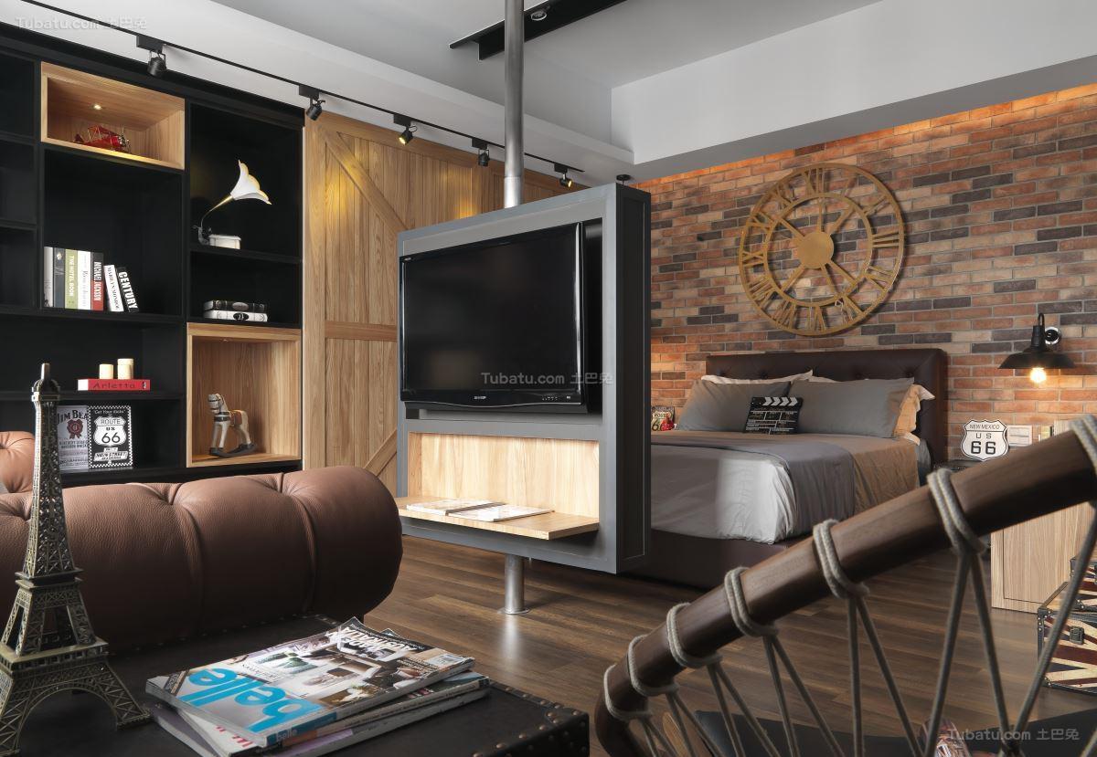 个性美式工业风客厅卧室隔断装修效果图