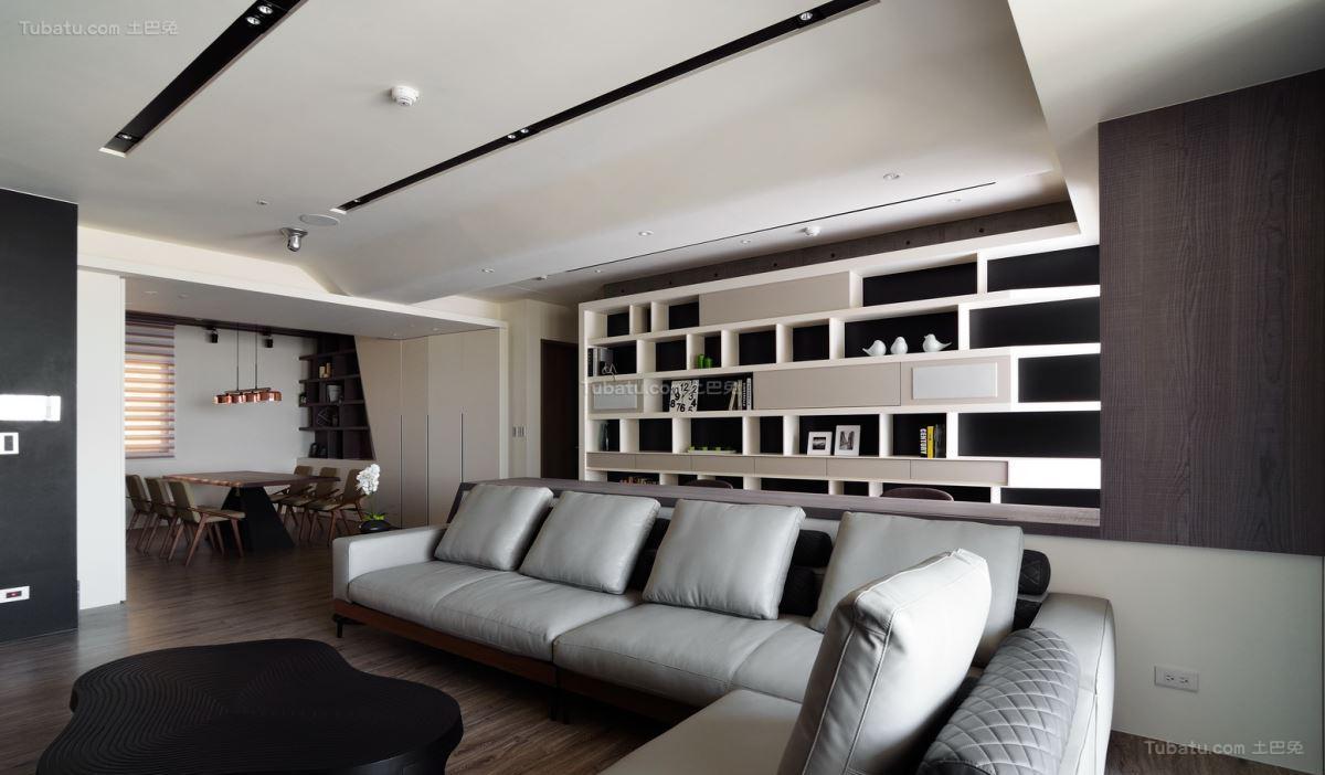 现代风黑白灰色彩两居室图
