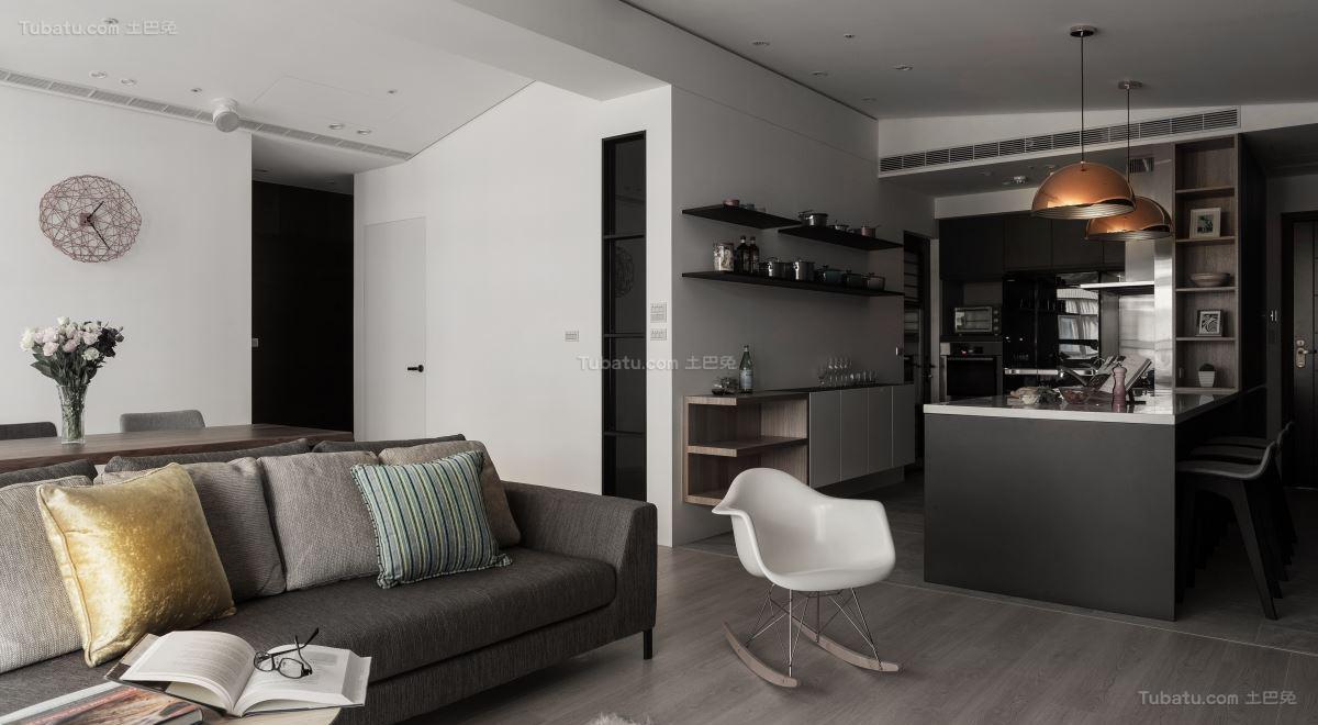 休闲雅致现代风格二居室装修效果图