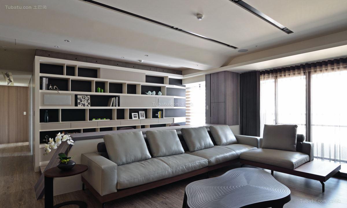 现代风黑白灰色彩客厅图