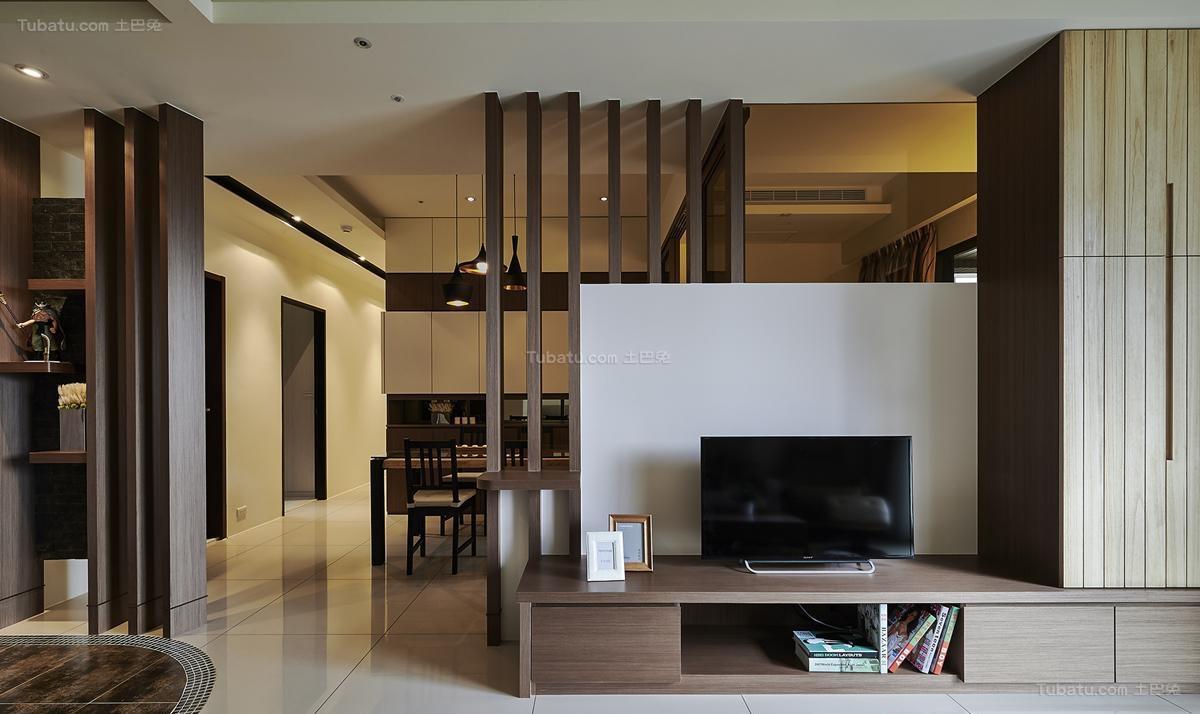 雅韵中式风格电视背景墙装修效果图