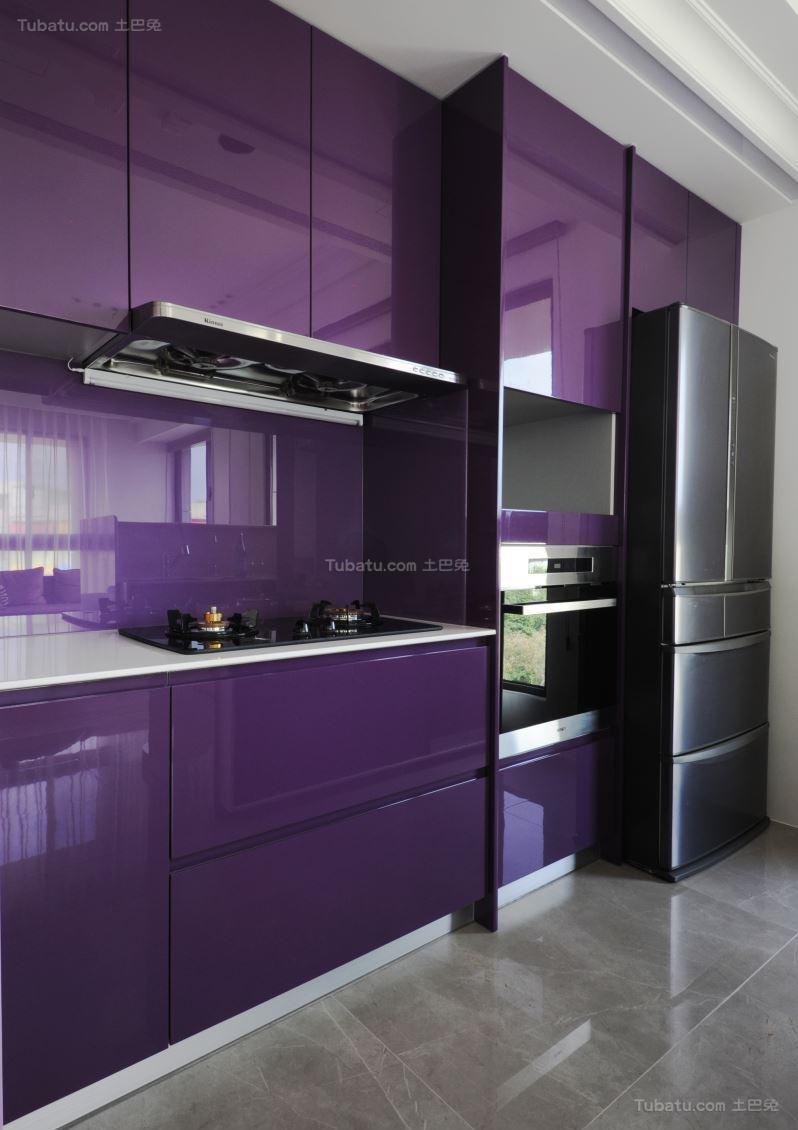 静雅紫色格调厨房图