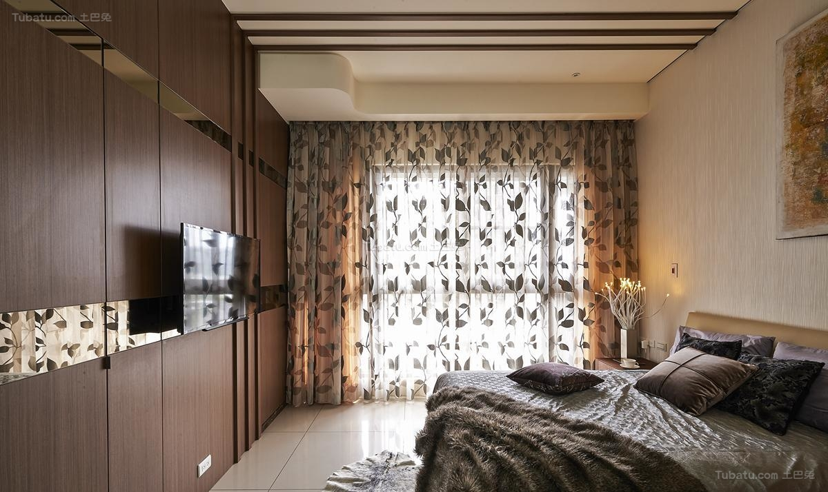 雅韵中式风格卧室窗帘装修效果图