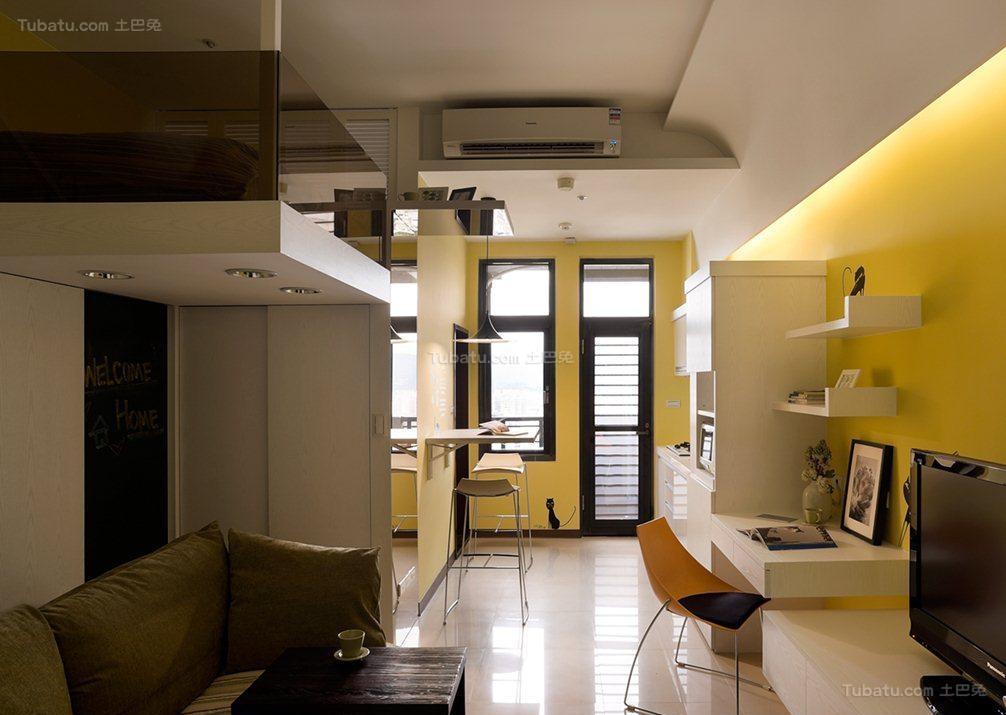 创意彩色现代风单身公寓装修效果图