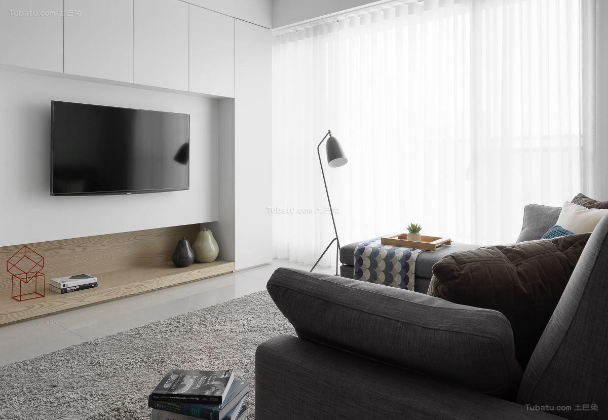 休闲素雅北欧风格电视背景墙装修效果图