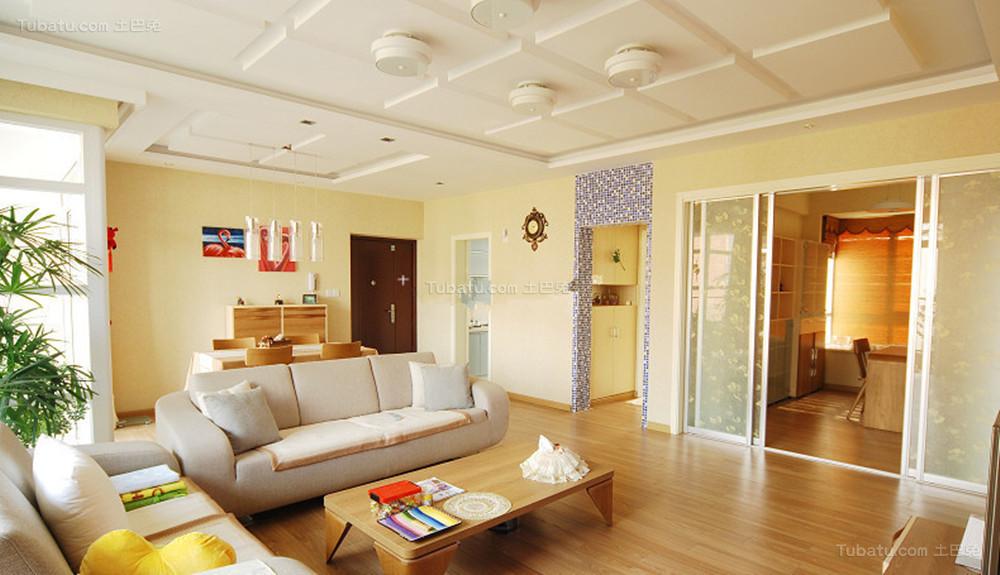 温馨暖色调现代化二居室装修效果图