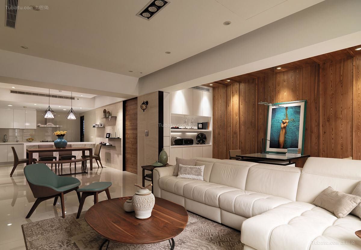 优雅纯净北欧风格二居室装修效果图