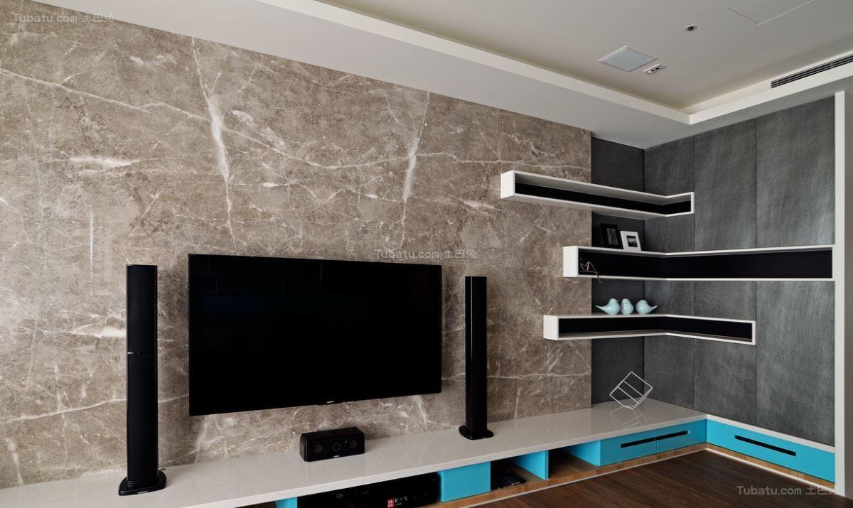 创意色彩北欧风格电视背景墙装修效果图