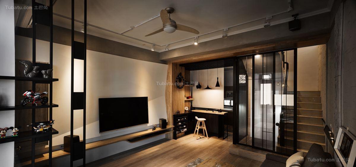 混搭风低调日式客厅图片