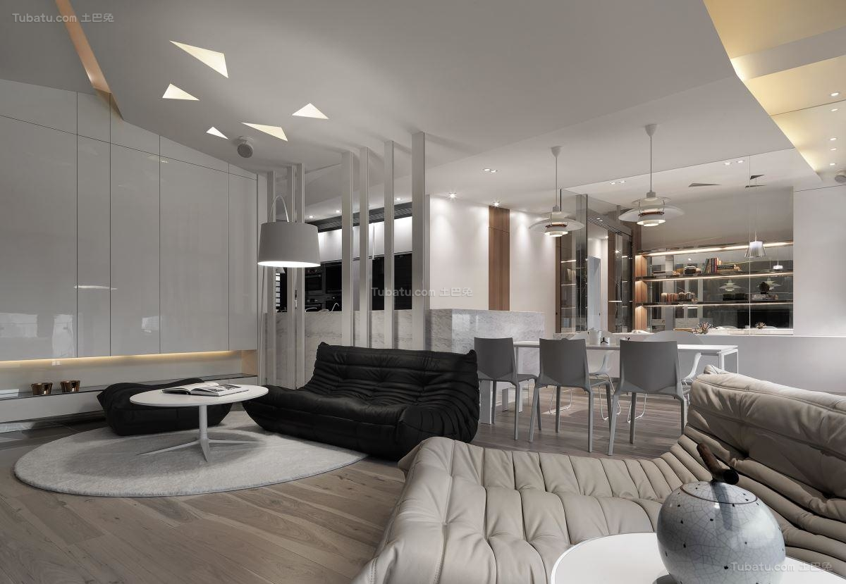 创意现代风格二居室装修效果图