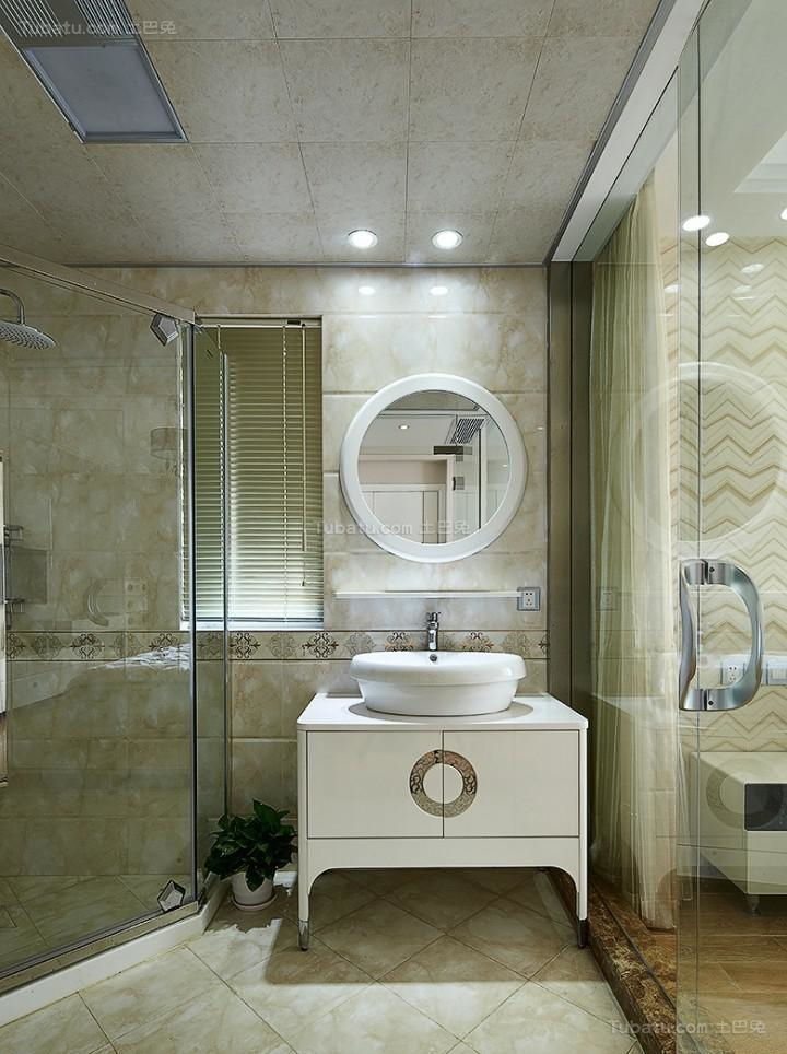 新古典精致休闲卫生间洗手池装修效果图