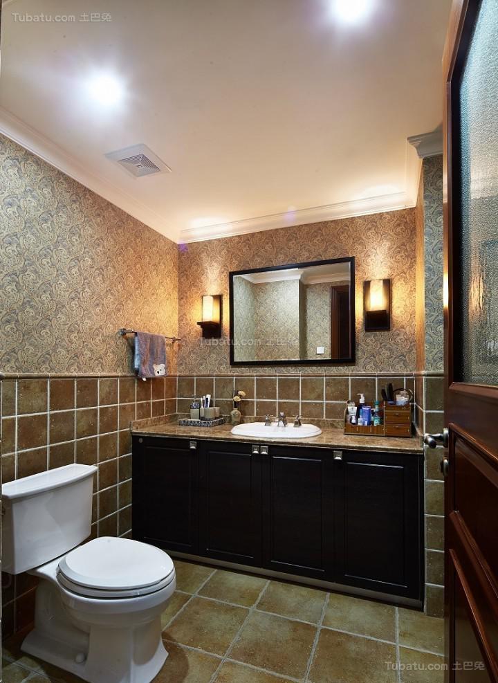 复古温馨美式风格卫生间装修效果图