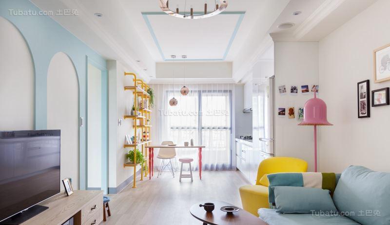 清新梦幻北欧风格二居室装修效果图