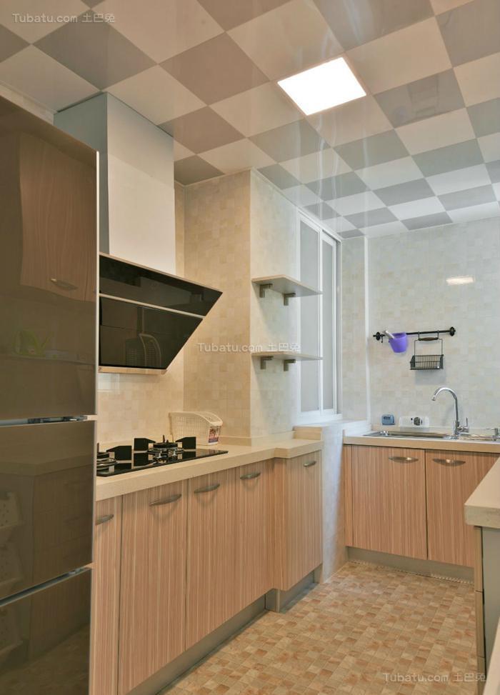 清新休闲风现代厨房装修效果图