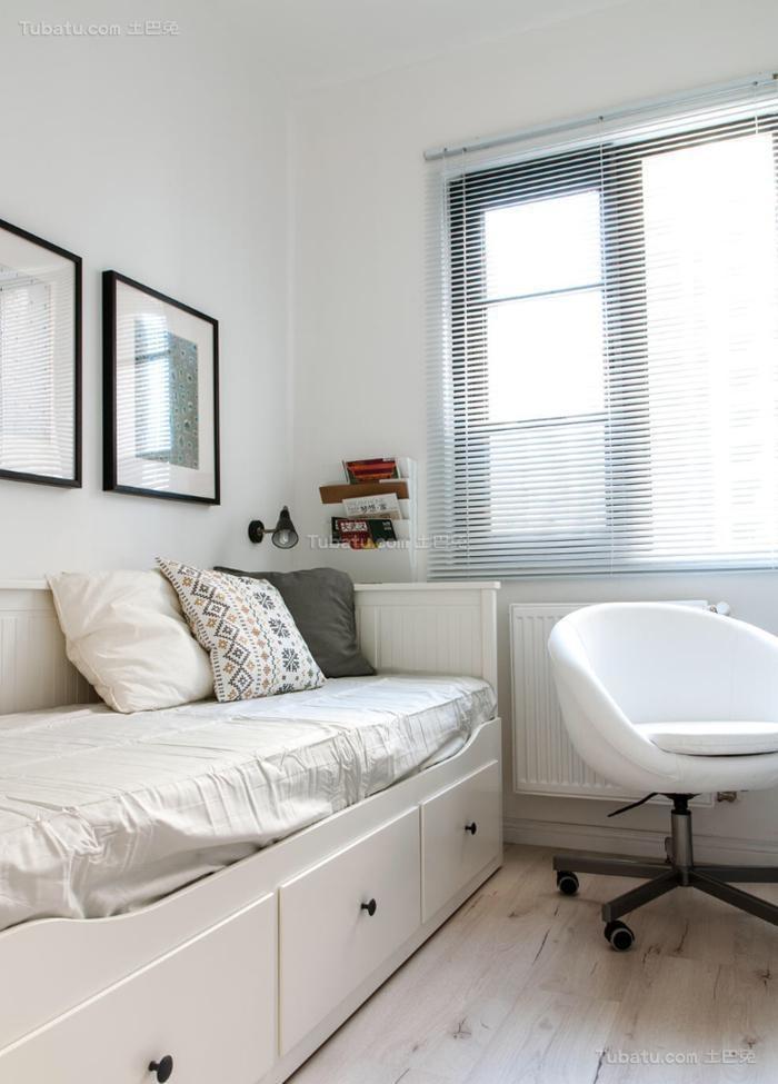 纯白色北欧风格三居室装修效果图