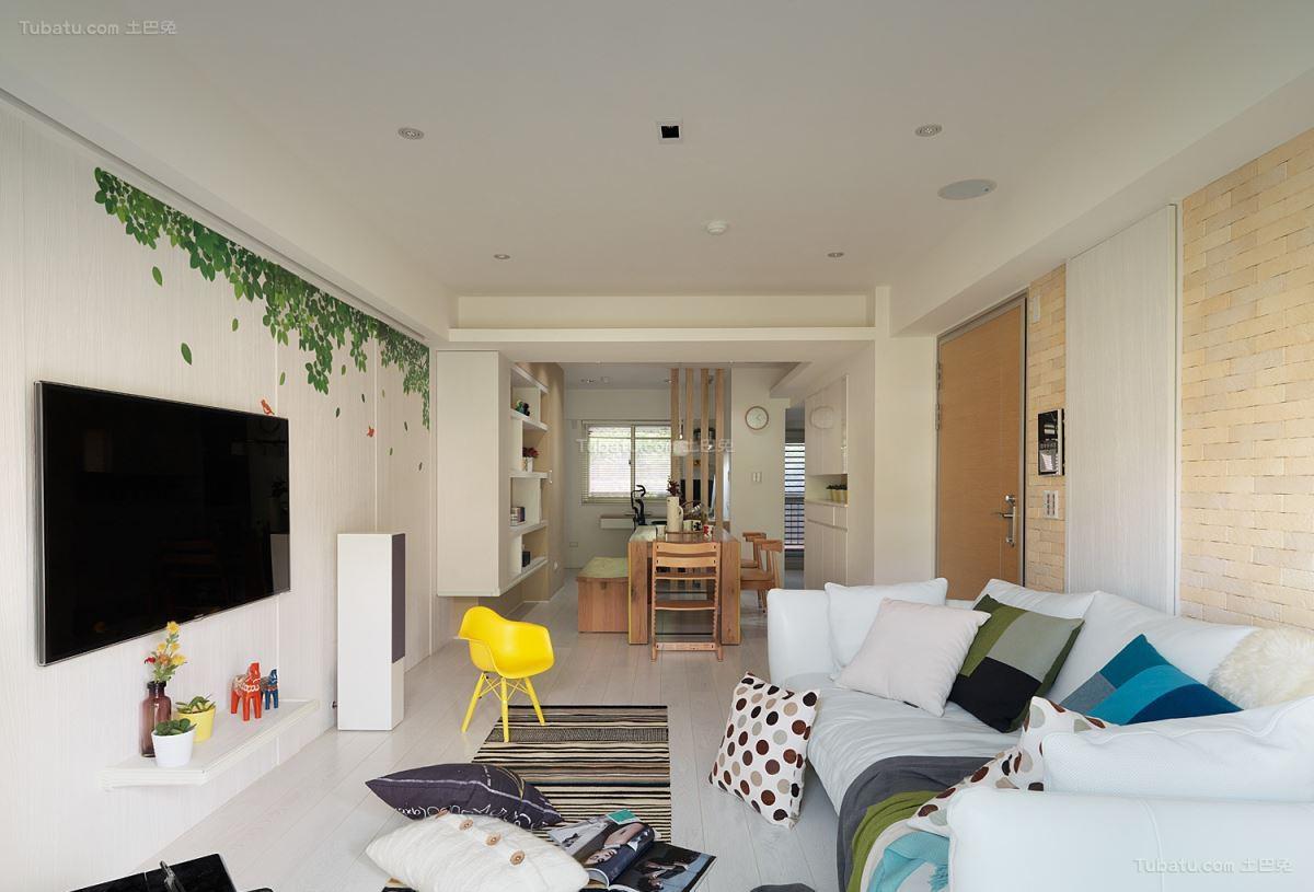自然清新现代风格客厅装修效果图