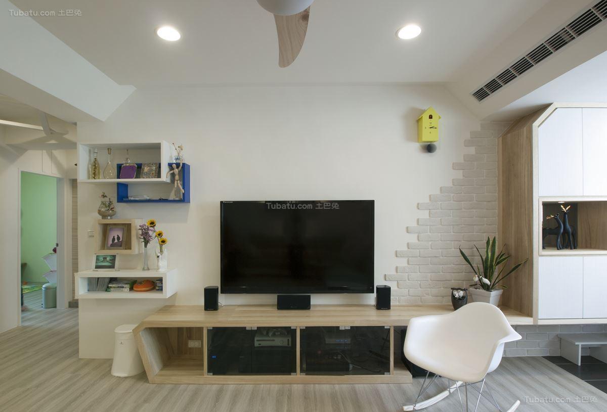 创意时尚北欧风格电视背景墙设计效果图